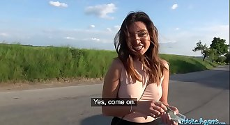 Public Agent Mexican honey Frida Sante gives roadside blowjob and fucking