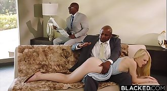 BLACKED Obedient gf punished by two black men