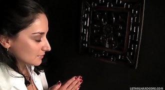 Teenager school girl Sheena Ryder begs for cock at church