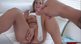 Busty MILF stepmom wants a stepsons cum in her pussy